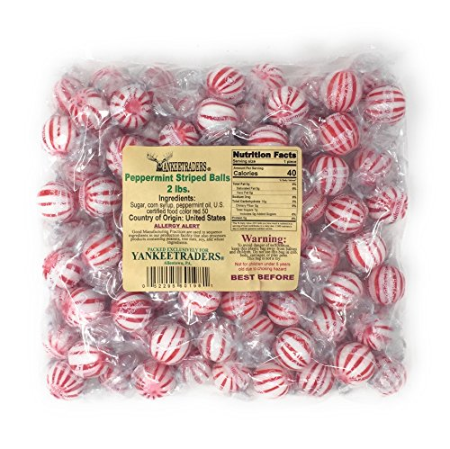 (Yankee Traders Hard Candy Balls, Peppermint Striped, 2 Pound)