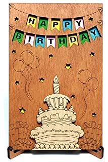 Happy Birthday Real Wood Greeting Card With Stand Best Handmade Wooden Gift Cute Present For