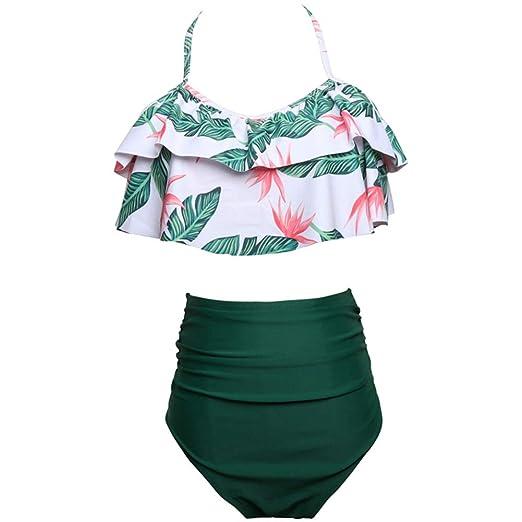 1a73be45cf09f Amazon.com: Sunliy Women's High Waisted Bikinis Green + Leaf Bikini V Neck  Two Piece Swimsuit High Leg Swimming Costume for Women: Clothing