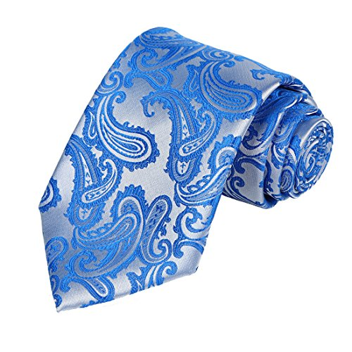 KissTies Mens Blue Tie Paisley Necktie + Gift Box