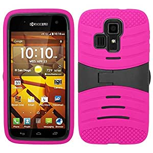 Pink Hard Soft Gel Dual Layer Kickstand Cover Case for Kyocera Hydro ICON