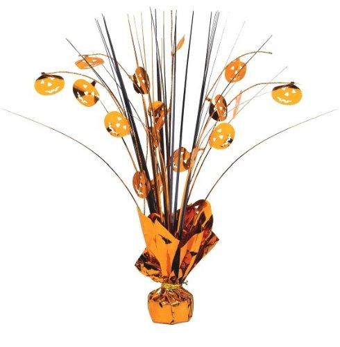 Family Friendly Halloween Jack-O-Lantern Spray Table Centerpiece Decoration, Plastic, 12