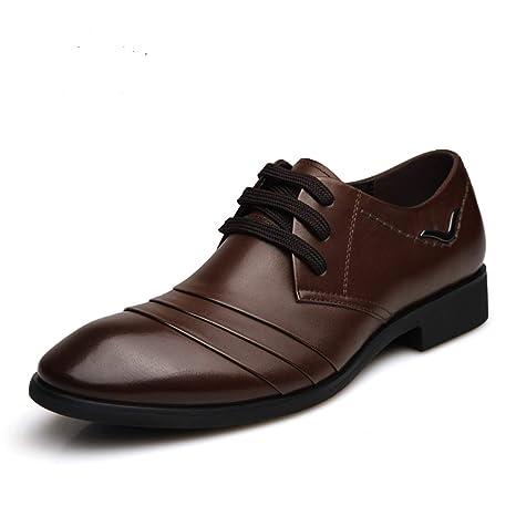 ChengxiO Zapatos de Cuero Redondos para Hombres Zapatos de ...