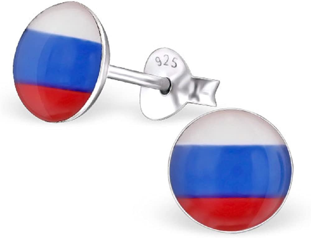 ICYROSE 925 Sterling Silver Round Russian Flag Stud Earrings 24436