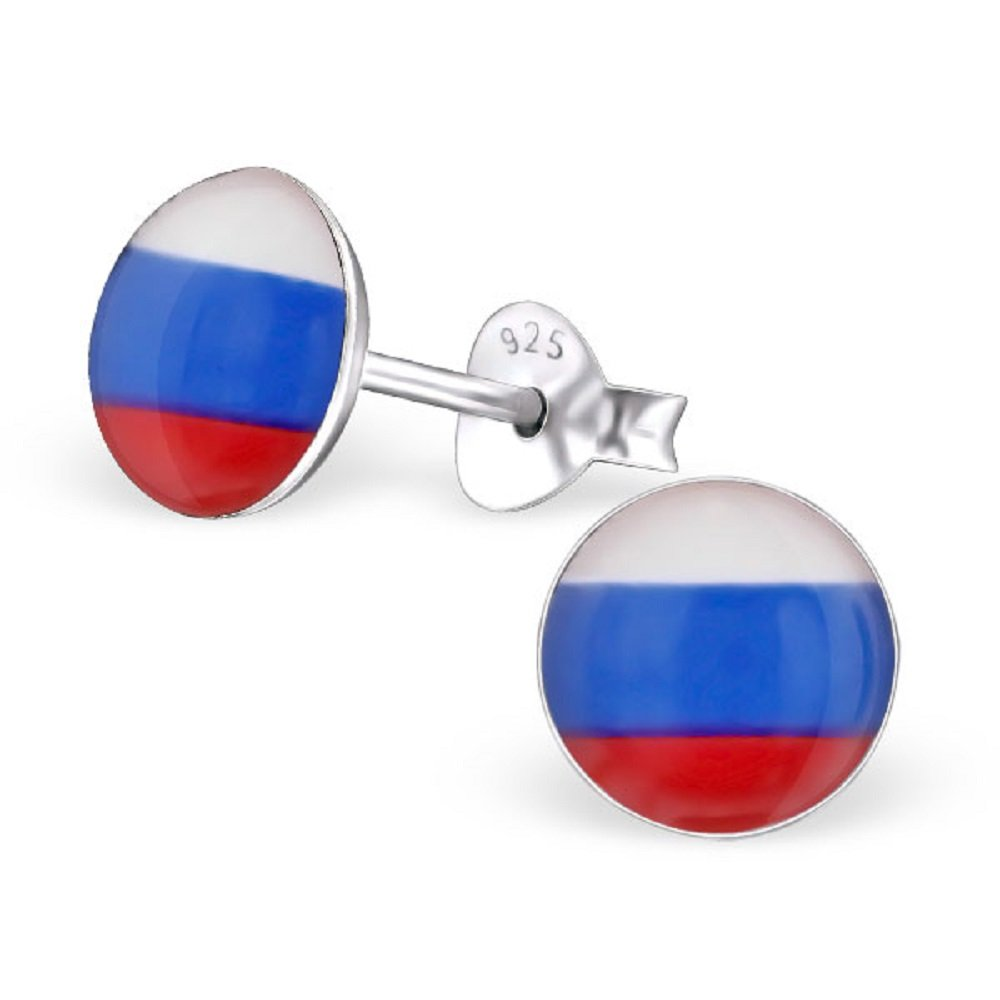 925 Sterling Silver Round Russian Flag Stud Earrings 24436