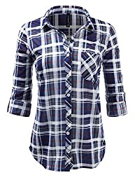 Jj Perfection Womens Plaid Collared Full Button Down Rollable 34 Sleeve Shirt Navygrey 3xl
