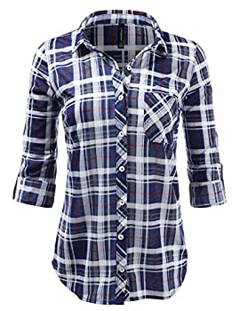 Jj Perfection Womens Plaid Collared Full Button Down Rollable 34 Sleeve Shirt Navygrey 3xl 0