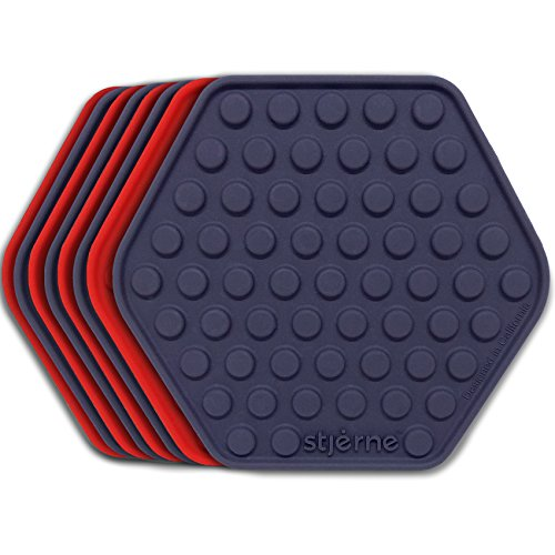 Stjerne Set of 8 Multipurpose Silicone Coasters, Trivets, Mat, Spoon Rest, Bottle Opener, Pot Holder, 6-in-1, Heavy Duty & Flexible (Navy Blue, Cherry)
