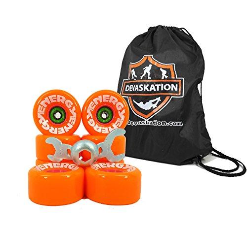 Riedell Radar Energy Outdoor Skate Wheels 8pk With Bionic Abec 7 Bearings Installed W/ Bonus Devaskation Drawstring Backpack and Skate Tool - Orange ()