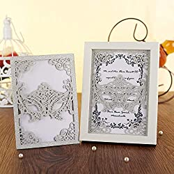 KAZIPA 25pcs Makeup Party Invitations, 5x7 Mask Party Invitations with Ivory Envelops, Masquerade Party Decorations for Halloween Dance Party (Silver+White)