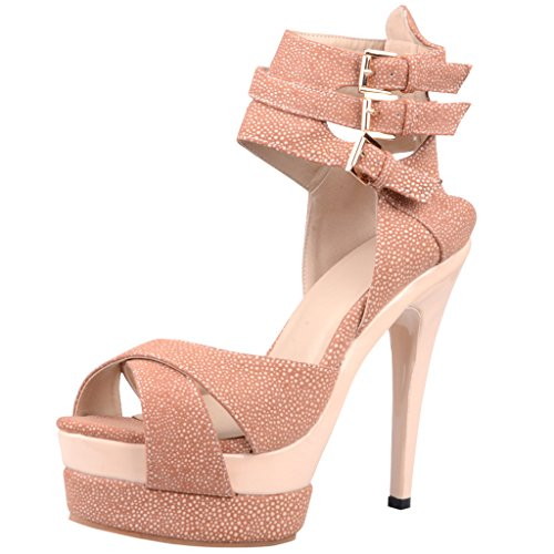 Calaier Women Cavillage Summer Designer Sexy Graceful Luxury Ladies Extreme High Heel Plus Size Open Toe 15CM Stiletto Buckle Sandals Shoes Pink nR8Wlk3n