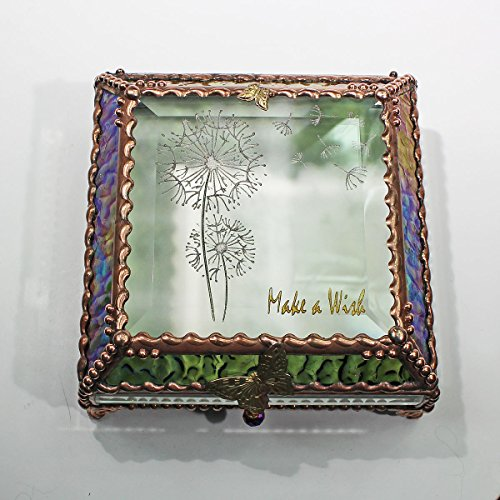 Dandylion Make a Wish 5X5 COPPER Jewelry Box by Glass Treasure Box