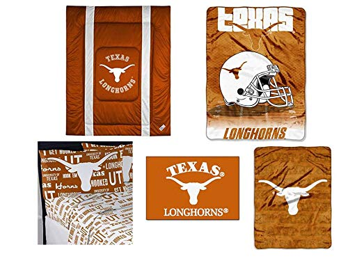 Texas Comforter Sidelines (Northwest NCAA Texas Longhorns Sidelines 7pc Ensemble: Includes twin comforter, twin flat sheet, twin fitted sheet, pillowcase, rug, throw, and blanket)