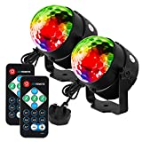 Litake Disco Ball, 2 Sets Remote Control DJ Lights 3W 7 Colours Strobe Light Sound Activated Party Lights For Xmas Party Pub Wedding Club Show