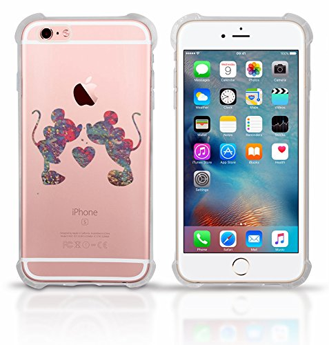 Clear iPhone 8 Plus clear case Protective Scratchproof Cover Antislip, Slim, Soft And Durable Plastic TPU Shell-Transparent Bumper Shock Case Mickey Mouse Colorful Paint Splatte (Mickey and Minnie)