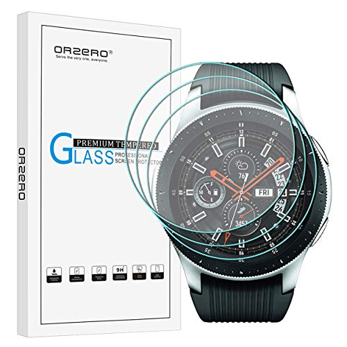 [3 Pack] Orzero for Samsung Galaxy Watch 2018 (46 mm) (Updated Version) Smartwatch/Gear S3 Tempered Glass Screen Protector, 2.5D Arc Edges HD Anti-Scratch Bubble-Free [Lifetime Replacement Warranty] from Orzero