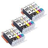 PGI-270XL CLI-271XL Ink Cartridges 15Packs (3Sets Without Gray), Use for Canon PIXMA TS5020 TS6020 MG6820 MG6821 MG5720 MG5721 MG5722 MG6822 Printers-Tekmall