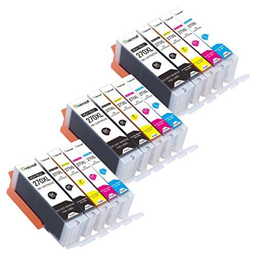 PGI-270XL CLI-271XL Ink Cartridges 15Packs (3Sets Without Gray), Use for Canon PIXMA TS5020 TS6020 MG6820 MG6821 MG5720 MG5721 MG5722 MG6822 Printers-Tekmall by Tekmall