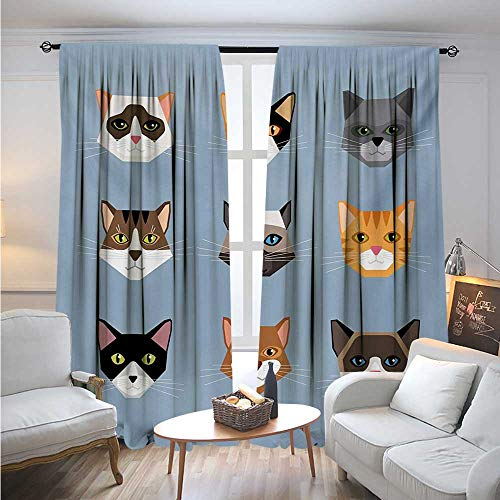 BlountDecor CatBlackout DrapesAnimal Portrait Set with Cute Kittens Face Whiskers Contemporary Caricature PatternBlackout Curtains Room Darkening Thermal Insulated W84 x L84 Multicolor