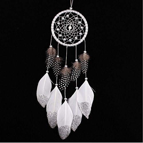 - Handmade Car-Detector Silver Powder Dream Catcher With Feathers Wall Hanging Decoration Room Crafts Ornament Dreamcatcher Gift