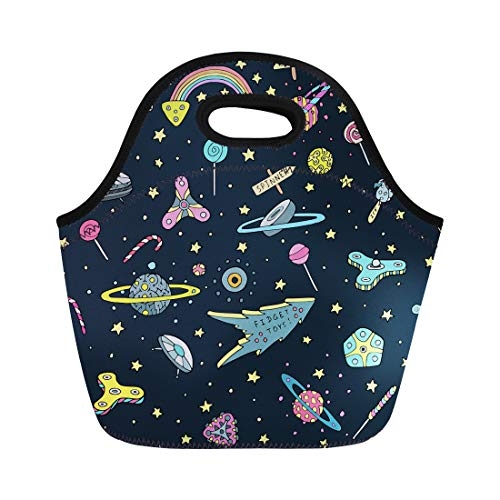 (Semtomn Neoprene Lunch Tote Bag Toys Planets Stars Candies Lollipops Ice Cream in Heaven Reusable Cooler Bags Insulated Thermal Picnic Handbag for Travel,School,Outdoors, Work)