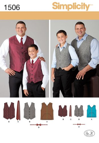 Simplicity Creative Patterns 1506 Husky Boys' and Big and Tall Men's Vests, A (Small-Large/1X-Large-5X-Large)