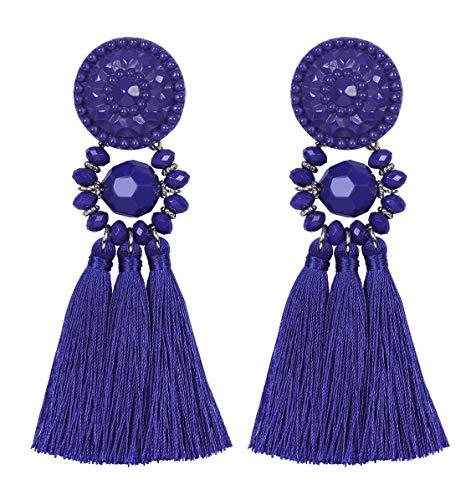 ement Thread Tassel Earrings - Chandelier Drop Dangle Cassandra Long Stud Earrings,Gifts for Women ()