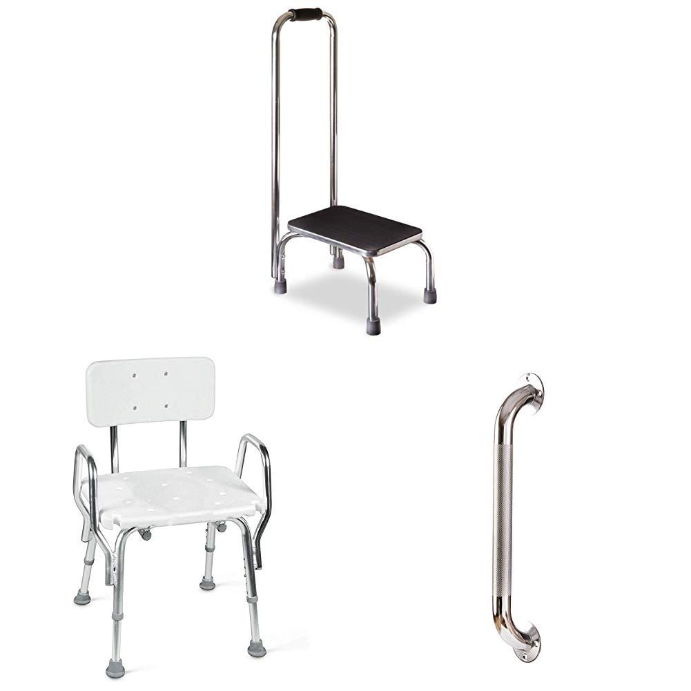DMI Step Stool with Handle with Textured Steel Grab Bar with Medical Tool-Free Assembly Spa Bathtub & Heavy Duty Shower Chair, Portable Shower Seat, Adjustable Bath Seat, Shower Seat with Arms