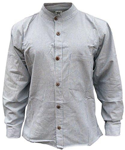 Hippie Moda Uomo Chiaro Blu Strisce Shopoholic Camicia A Nonno Da TqXd6wcO