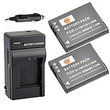 DSTE® 2x Li-90B Replacement Li-ion Battery + DC16 Travel and Car Charger Adapter for Olympus SH-50 iHS SH-60 SP-100 Tough TG-1 TG-2 TG-3 TG-4 XZ-2 iHS Camera as LI-92B