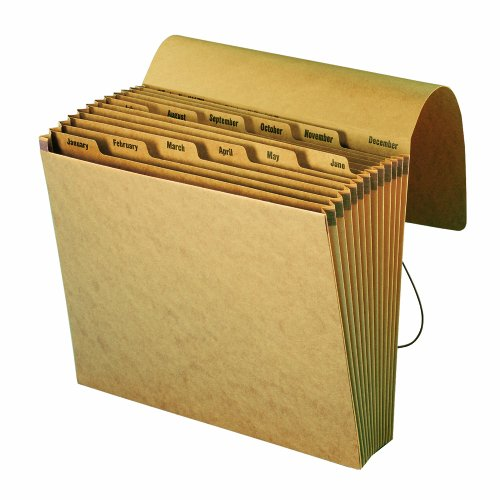 Smead Expanding File with Flap and Cord Closure, 12 Pockets, Monthly (Jan-Dec), Letter Size, Kraft (70186)