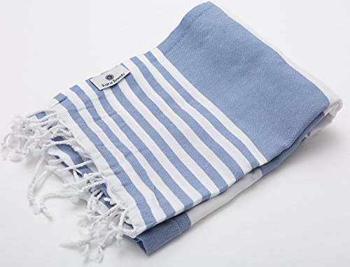 Kuru Towels - Turkish Beach Towels - 100% Cotton Premium Quality Multipurpose Peshtemal for Fast Drying & Easy Storage. Great for Travel, Spa, Pools, Bath and Gym - Poolside Denim Blue