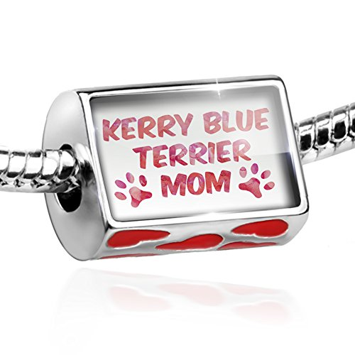 Kerry Blue Dog Terrier Charm (Bead Dog & Cat Mom Kerry Blue Terrier Charm with hearts by NEONBLOND)
