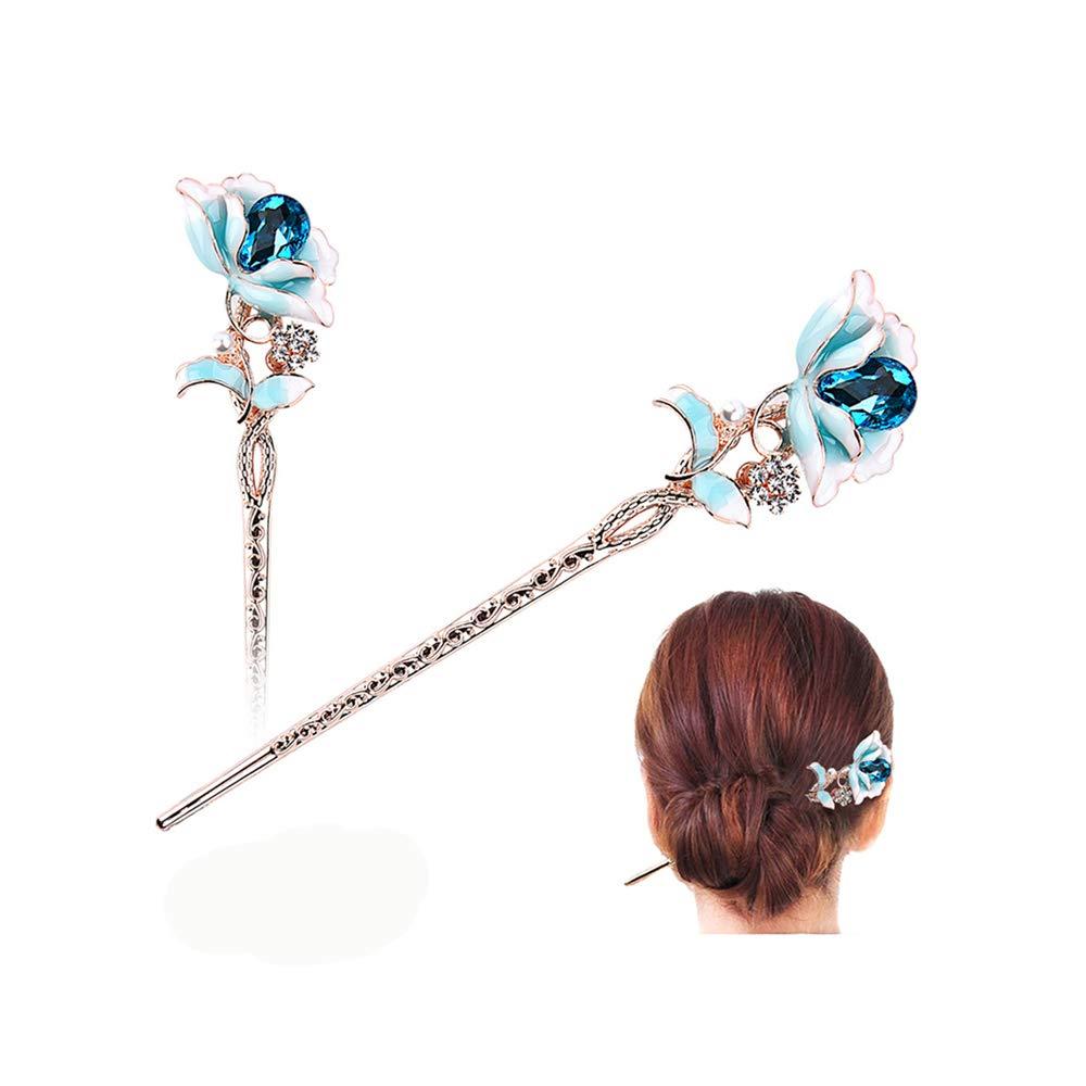 Chinese Style Metal Rhinestone Hair Chopsticks Hair Stick Hairpin Chignon Pin