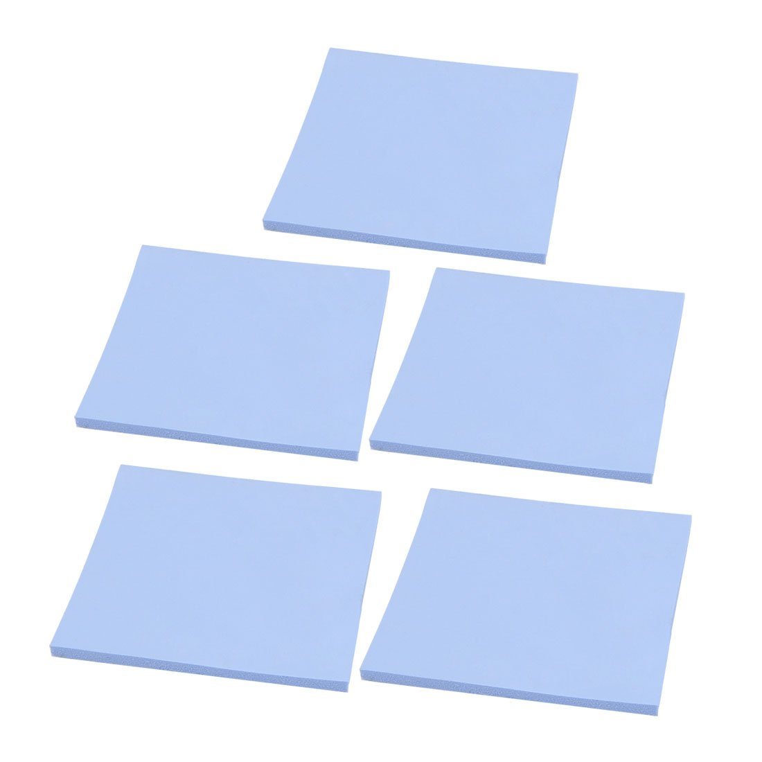 uxcell 5pcs 1mm x 100mm x 100mm Square Silicone Heatsink Sticky Thermal Pad Shim Blue