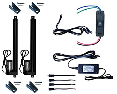 WindyNation (2pcs) 12 Volt, 225 lbs Linear Actuators + Up Down DPDT Switch + Power Supply + Mounting Brackets+ Connectors