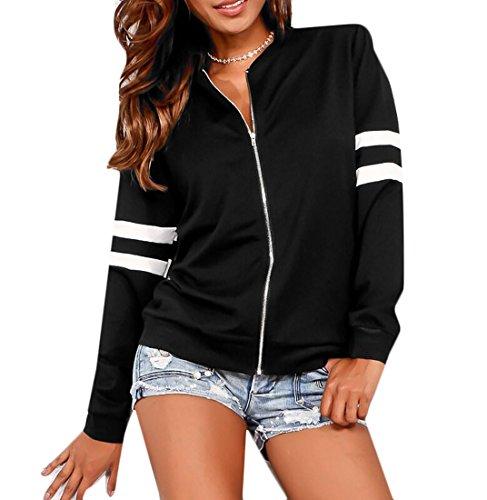 Bomber Up Womens Coat Varsity Zip Black Jacket Front MK988 Outwear Wqpnt6Xq