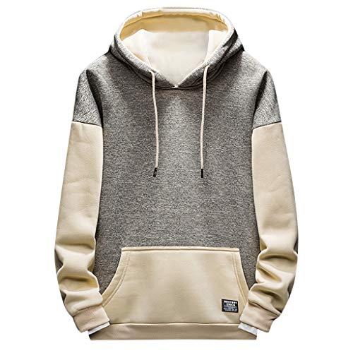 Star_wuvi Men's Zip-up Hoodie Color Block Slim Fit Hooded Sweatshirt Raglan Sleeve Jacket Khaki