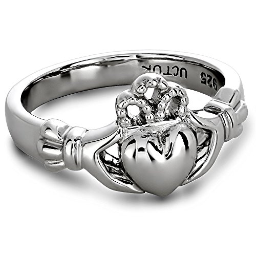 14K White Gold ULG-6163W Claddagh Ring - Size: 8