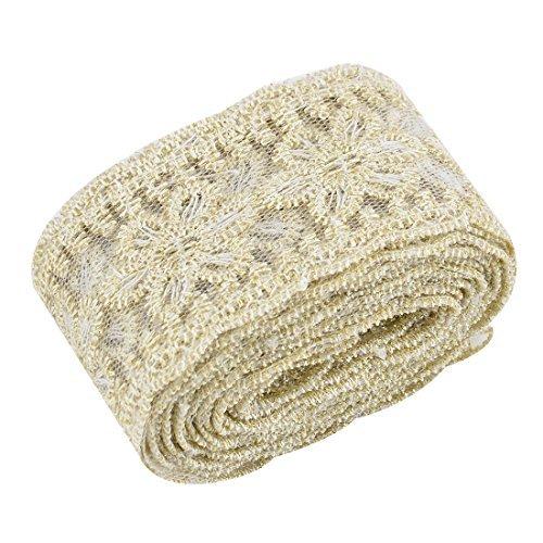 DealMux Polyester Floral Design DIY Craft Dress Lace Trim Applique 2.2 Yards Gold Tone