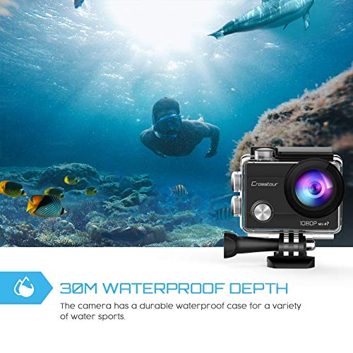 Crosstour Camera 1080P 12MP WiFi Sports Cam 170 Ultra with PCS Batteries and