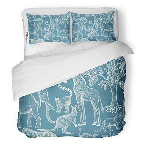 Semtomn Decor Duvet Cover Set Twin Size Animals Birds of Wild World and Trees Vintage Blue 3 Piece Brushed Microfiber Fabric Print Bedding Set Cover