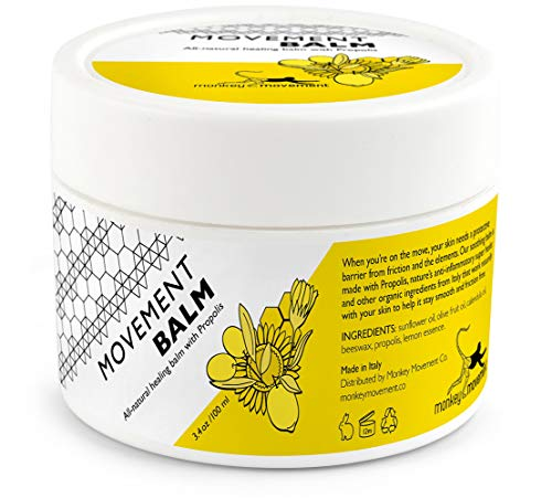 Monkey Movement Anti-Chafe Skin Healing Cream: All Natural Chafing Itch Relief Balm with Propolis - Sweat Resistant Eczema Treatment for Irritated Skin