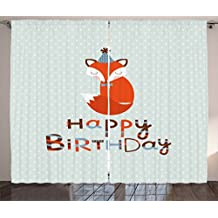 Birthday Decorations Curtains by Ambesonne, Cute Fox Sleeping on Dotted Backdrop Greeting Message, Living Room Bedroom Window Drapes 2 Panel Set, 108W X 96L Inches, Orange Light Blue Beige