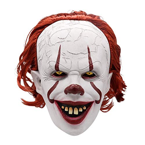 The Scariest Halloween Party Ever (Lijuan Qin Halloween Mask Red Hair Clown Mask Cosplay Face Dance Mask Fun Video Shooting Special Props Stage Performance for Festival Parade Grass Dance Halloween Christmas)