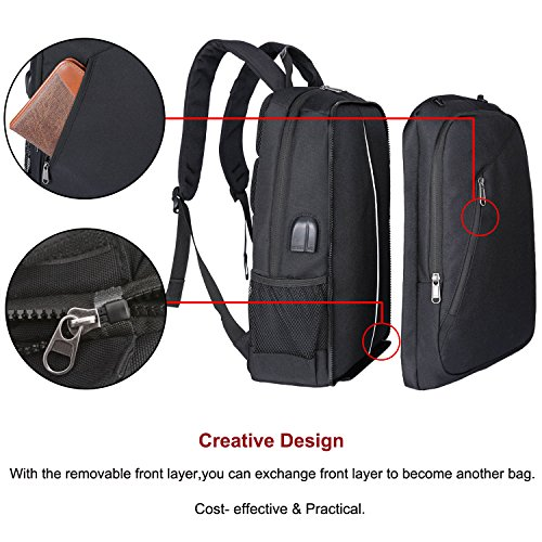 XQXA Extra Large School Backpack Mens Women USB Charging Port Headphone Port, Upgrade Slim Outdoor Sports Travel Bag Paded Laptop Compatment Fit 17 inch Laptops Notebook by XQXA (Image #4)