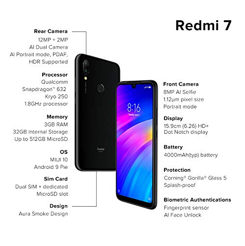 Redmi 7 (Eclipse Black, 3GB RAM, IPS LCD Display, 32GB Storage, 4000mAH Battery)