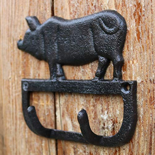 (HZH European and American Village Retro Cast Iron Pig Crafts Wrought Iron Hook Wall Hanging Wall Decoration Pig Double Hook)