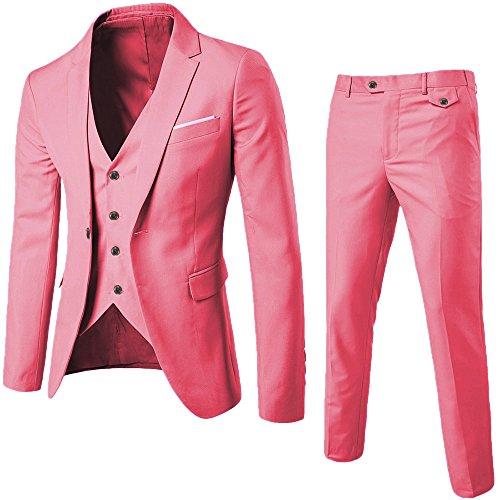 (WULFUL Men's Suit Slim Fit One Button 3-Piece Suit Blazer Dress Business Wedding Party Jacket Vest & Pants Pink)
