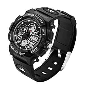 4474 Luminous Alarm Function Calendar Display True Seconds Disk Design Multifunctional Sport Men Electronic Watch with Plastic Band (Color : Black)